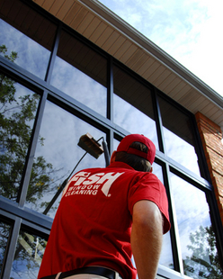 Commercial Window Cleaning With A Water-Fed Pole