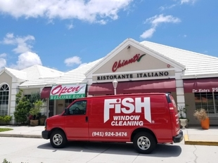 Fish Window Cleaning Van In Front Of Chianti Ristorante Italiano