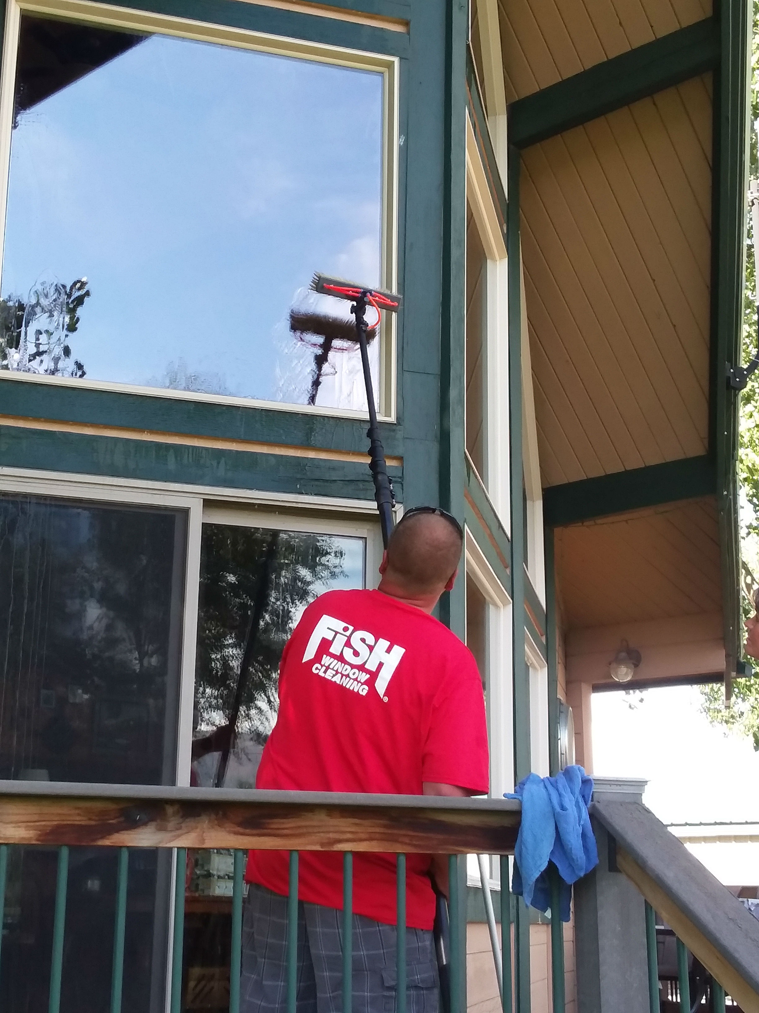 Residential Window Cleaning With A Ladder